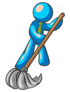 Orange Man Wearing A Tie, Using A Mop While Mopping A Hard Floor