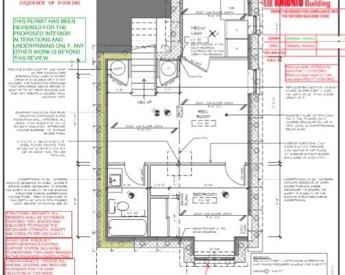 Design Build Custom Project - Basement Lowering - Stamped Plans
