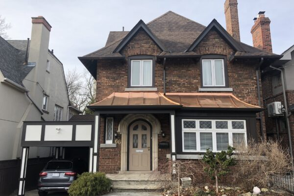 Exterior Renovation - Carport - Portico - Copper and flat Roof - Board and batten - Toronto