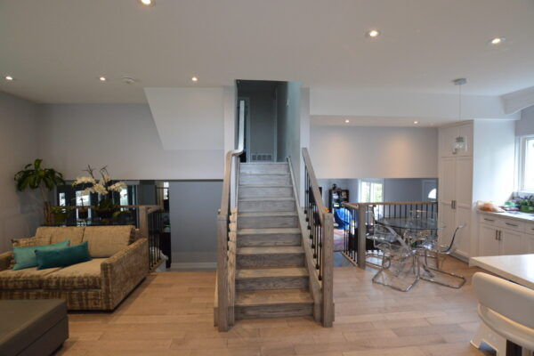 Interior Renovation - Family room - stairs - two tone stain - open concept - Markham - Toronto