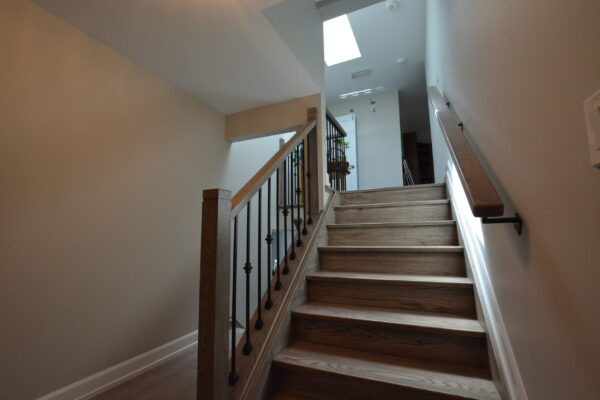 Interior Renovation - Stairs - two tone stain - skylight