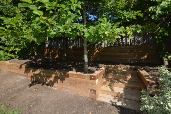 Landscaping Retaining wall- Wood rail ties - North York - Toronto - GTA