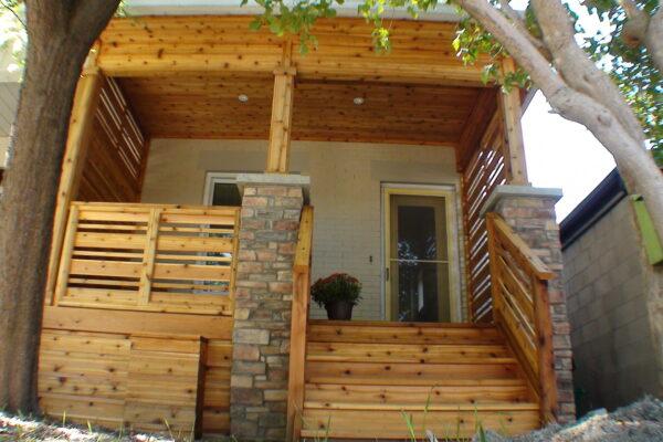 Porch Renovation - Cedar Porch with custom stone facing pillars - Toronto - GTA