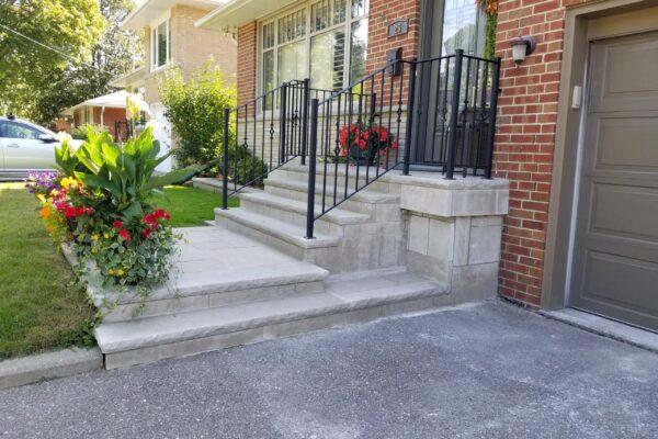 Porch Renovation - Indiana Limestone - Wrought Iron - Etobicoke - Toronto - GTA
